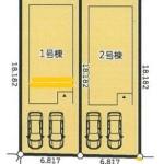 配置図(左側が1号棟)(区画図)