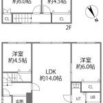 1階は洋室2室をLDKと続きとしても。(間取)