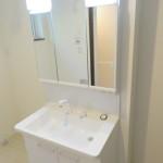 ハンドルシャワー付き洗面化粧台で隅々までお手入れもできて衛生的です。(洗面所)